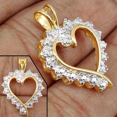 925 STERLING 0.03cts NATURAL WHITE DIAMOND SILVER 14K GOLD HEART PENDANT H19862