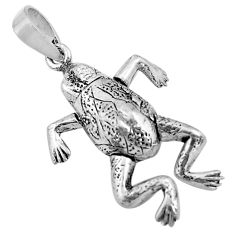 925 sterling silver 3.89gms 3d moving bali style solid frog pendant c4324