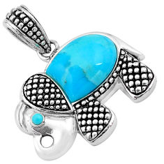 925 sterling silver 4.42cts blue arizona mohave turquoise elephant pendant c4394