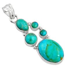 925 sterling silver 15.23cts blue arizona mohave turquoise oval pendant p89172