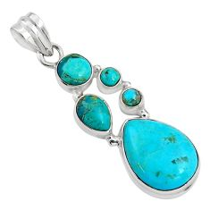 925 sterling silver 16.54cts blue arizona mohave turquoise pendant p89171