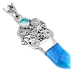 925 sterling silver 5.44cts blue aura quartz (arkansas) topaz pendant p52153