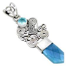 925 sterling silver 7.24cts blue aura quartz (arkansas) topaz pendant p52157