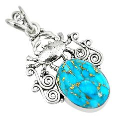 925 sterling silver 11.66cts blue copper turquoise crab pendant jewelry p59784