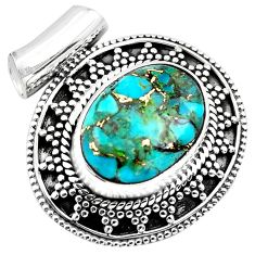 925 sterling silver 9.13cts blue copper turquoise oval pendant jewelry p86567