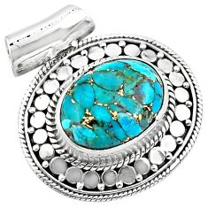 925 sterling silver 10.26cts blue copper turquoise oval pendant jewelry p86573