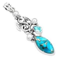 925 sterling silver 16.46cts blue copper turquoise topaz dragon pendant p37633