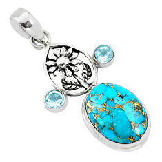 925 sterling silver 14.53cts blue copper turquoise topaz flower pendant p56767