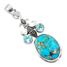925 sterling silver 14.41cts blue copper turquoise topaz pendant jewelry p56764