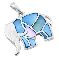 925 sterling silver 3.48gms blue pearl enamel elephant pendant jewelry c2557
