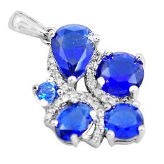 925 sterling silver 5.92cts blue sapphire (lab) topaz pendant jewelry c3503