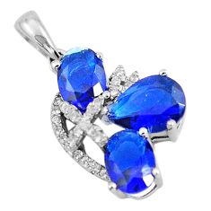 925 sterling silver 4.71cts blue sapphire (lab) topaz pendant jewelry c3507