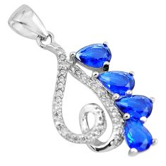 925 sterling silver 3.59cts blue sapphire (lab) topaz pendant jewelry c3528