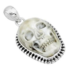 925 sterling silver 13.07cts carving white howlite skull pendant jewelry p77324