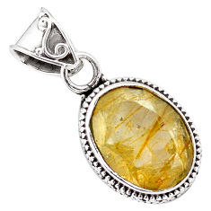 925 sterling silver 10.29cts faceted golden rutile oval pendant jewelry p84653