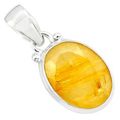 925 sterling silver 9.37cts faceted golden tourmaline rutile pendant p76511