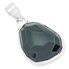 925 sterling silver 18.68cts faceted natural rainbow obsidian eye pendant p65830
