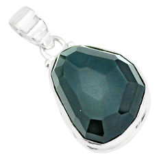925 sterling silver 19.07cts faceted natural rainbow obsidian eye pendant p65837