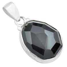 925 sterling silver 16.20cts faceted natural rainbow obsidian eye pendant p71944
