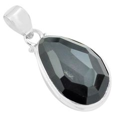 925 sterling silver 16.20cts faceted natural rainbow obsidian eye pendant p71952