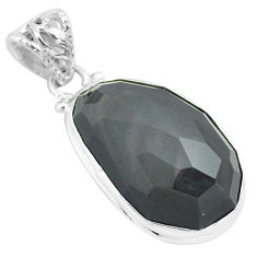 925 sterling silver 19.72cts faceted natural rainbow obsidian eye pendant p71955