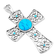 925 sterling silver 5.18cts fine blue turquoise holy cross pendant jewelry c4806