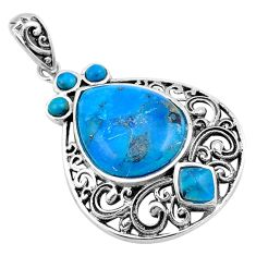 925 sterling silver 11.23cts fine blue turquoise pear pendant jewelry c4811