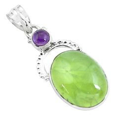 925 sterling silver 18.68cts fine green prehnite amethyst pendant jewelry d31955