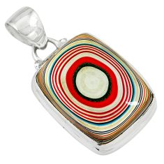 925 sterling silver 10.19cts fordite detroit agate octagan pendant p79220