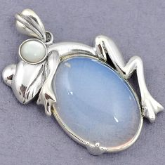 925 STERLING SILVER FROG PENDANT JEWELRY NATURAL WHITE OPALITE PEARL H39933