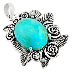 925 sterling silver 10.33cts green arizona mohave turquoise flower pendant c4419