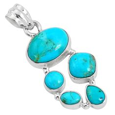 925 sterling silver 11.19cts green arizona mohave turquoise pendant p34159