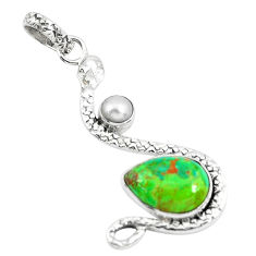 925 sterling silver 6.53cts green copper turquoise pearl snake pendant p49108