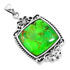 925 sterling silver 5.84cts green copper turquoise pendant jewelry c1811