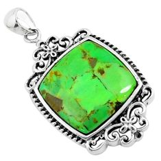925 sterling silver 6.97cts green copper turquoise pendant jewelry c1818