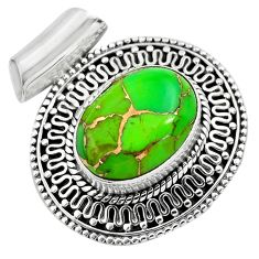 925 sterling silver 9.72cts green copper turquoise pendant jewelry p86577