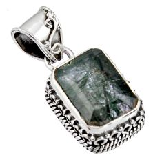 925 sterling silver 6.92cts green natural rutile pendant jewelry p90349