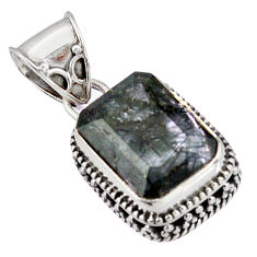 925 sterling silver 7.36cts green natural rutile pendant jewelry p90354