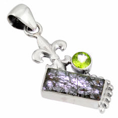 925 sterling silver 8.77cts green natural rutile peridot pendant jewelry p90356