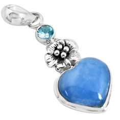 925 sterling silver 12.34cts natural angelite topaz flower heart pendant p55024