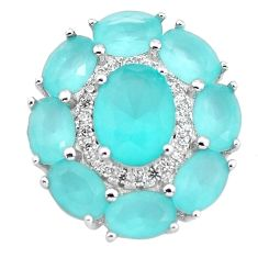 925 sterling silver 8.71cts natural aqua chalcedony topaz pendant jewelry c3033
