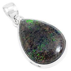925 sterling silver 11.73cts natural black honduran matrix opal pendant p46644