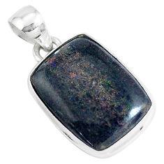 925 sterling silver 10.65cts natural black honduran matrix opal pendant p46648