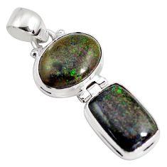 925 sterling silver 11.04cts natural black honduran matrix opal pendant p86803
