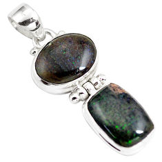 925 sterling silver 12.06cts natural black honduran matrix opal pendant p86810