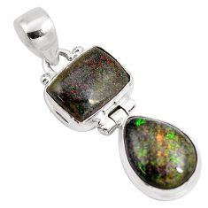 925 sterling silver 10.23cts natural black honduran matrix opal pendant p86819