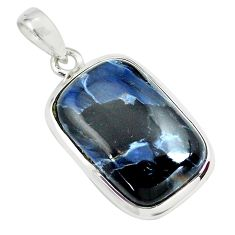 925 sterling silver 14.72cts natural black pietersite (african) pendant p70797