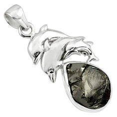 925 sterling silver 11.86cts natural black shungite dolphin pendant p79391