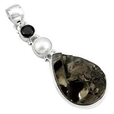 925 sterling silver 14.47cts natural black shungite onyx pearl pendant p79424