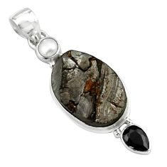 925 sterling silver 14.14cts natural black shungite onyx pearl pendant p79439